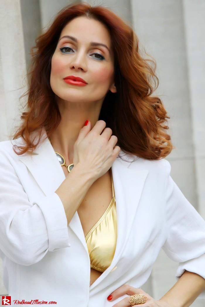 Redhead Illusion - Golden touch - White jacket- Androgynous style--04