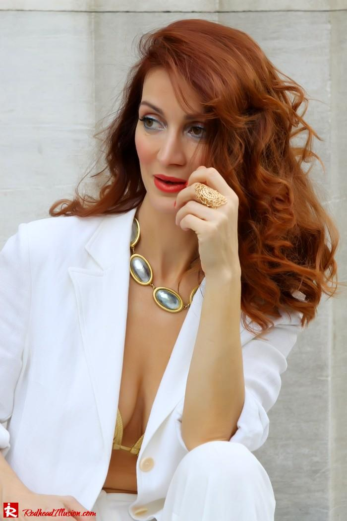 Redhead Illusion - Golden touch - White jacket- Androgynous style--08