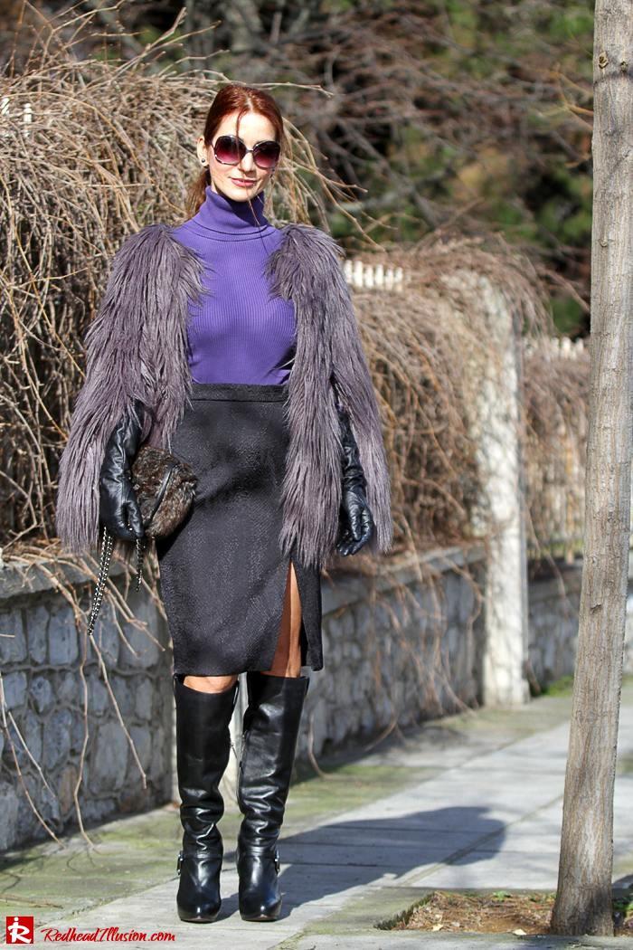 Redhead Illusion - Fashion Blog by Menia - Balance - Altuzarra Pencil Skirt with Supertrash Cape and Michael Kors Boots-05