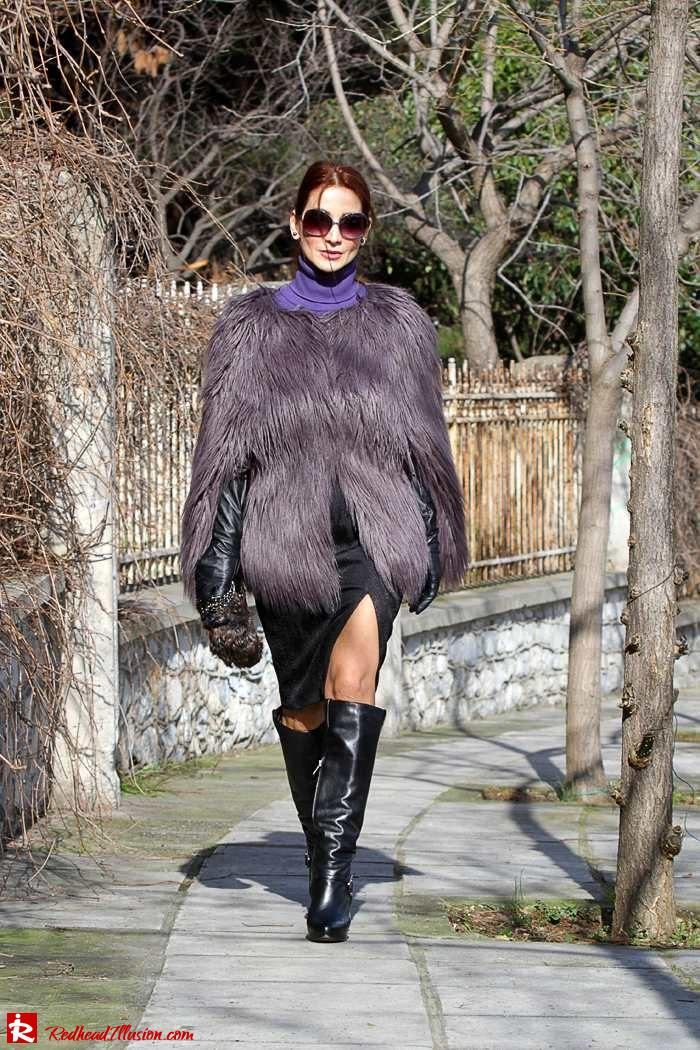 Redhead Illusion - Fashion Blog by Menia - Balance - Altuzarra Pencil Skirt with Supertrash Cape and Michael Kors Boots-09