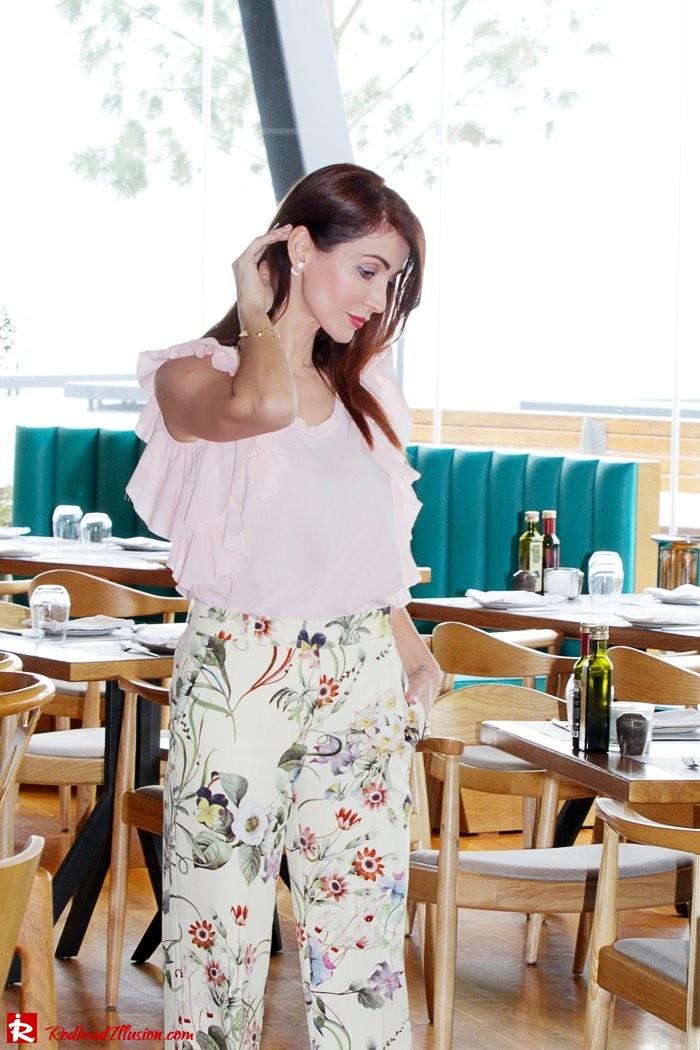 Redhead Illusion - Fashion Blog by Menia - Flower Power - Denny Rose Ruffle Top with Zara Pants-06