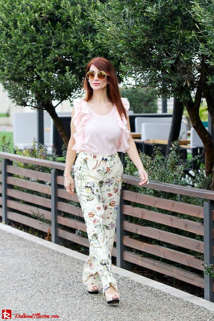 Redhead Illusion - Fashion Blog by Menia - Flower Power - Denny Rose Ruffle Top with Zara Pants-08