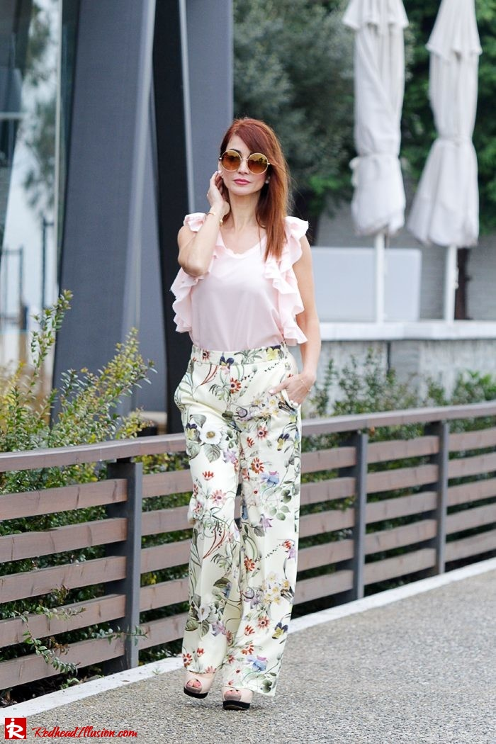 Redhead Illusion - Fashion Blog by Menia - Flower Power - Denny Rose Ruffle Top with Zara Pants-09