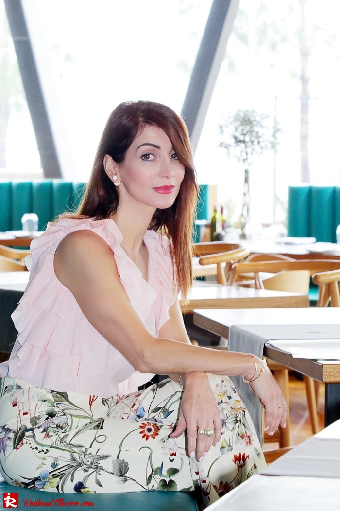 Redhead Illusion - Fashion Blog by Menia - Flower Power - Denny Rose Ruffle Top with Zara Pants-12