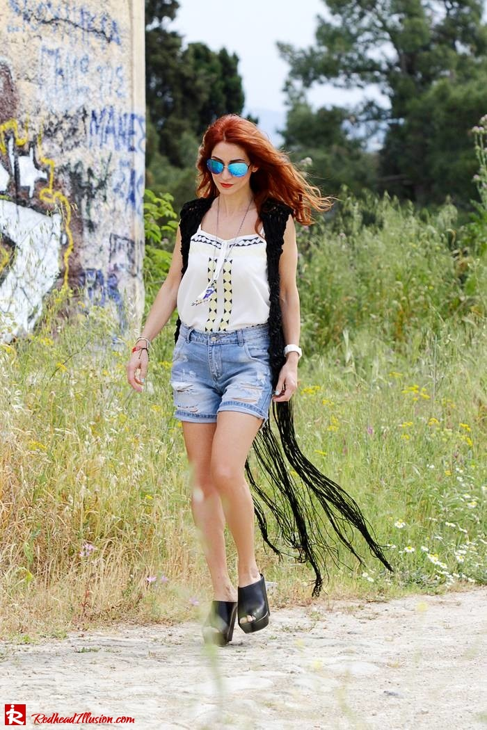 Redhead Illusion - Fashion Blog by Menia - Bohemian Summer - Knitted Vest - Distressed Denim Shorts-02