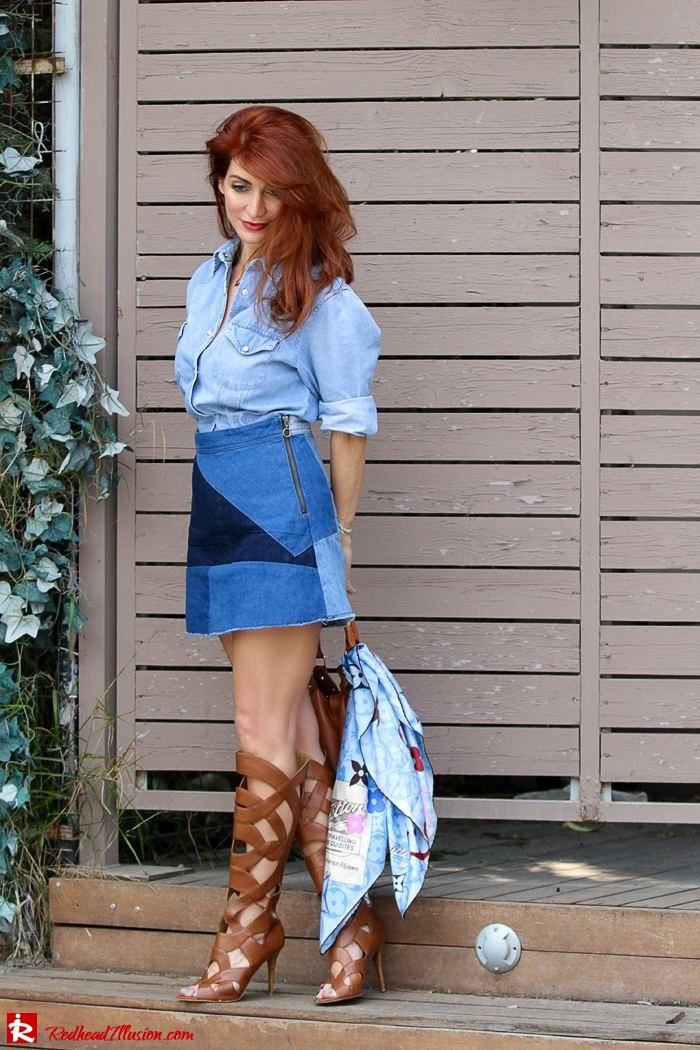 Redhead Illusion - Fashion Blog by Menia - Double Denim - Chambray Shirt with Jean Skirt-02