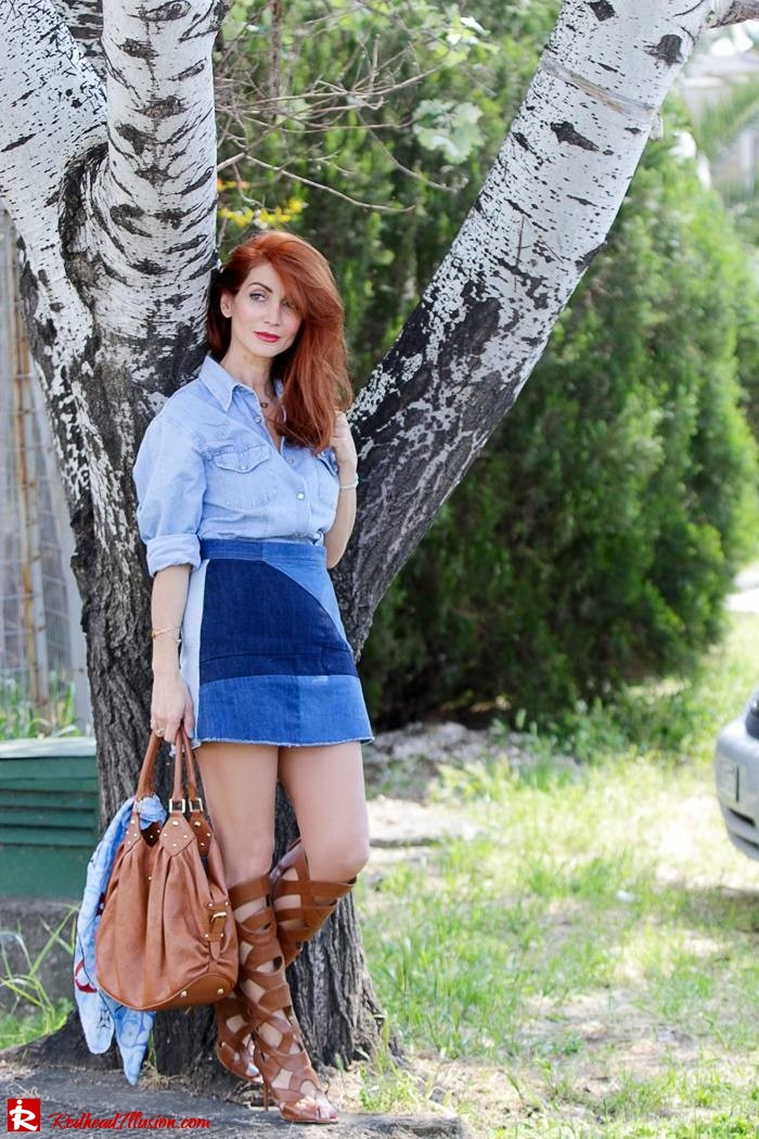 Redhead Illusion - Fashion Blog by Menia - Double Denim - Chambray Shirt with Jean Skirt-06