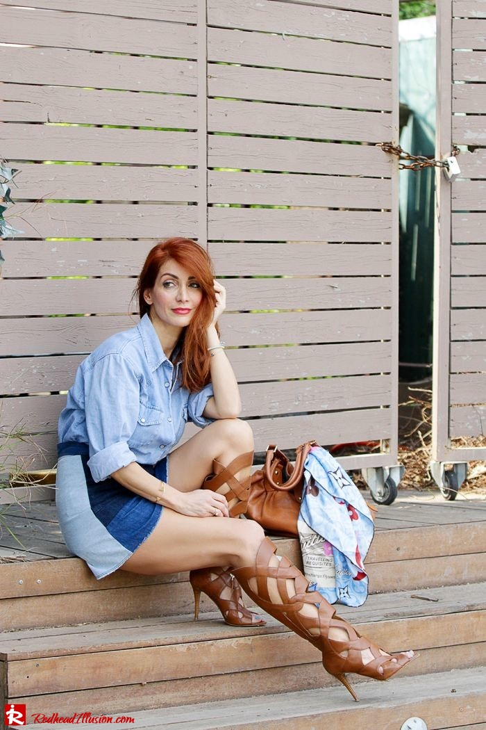 Redhead Illusion - Fashion Blog by Menia - Double Denim - Chambray Shirt with Jean Skirt-10