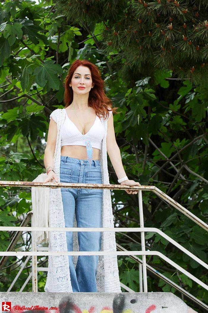 Redhead Illusion - Fashion Blog by Menia - Bohemian Summer Part 2 - Knitted Vest - High waisted Flared Denim - Bikini Top-02