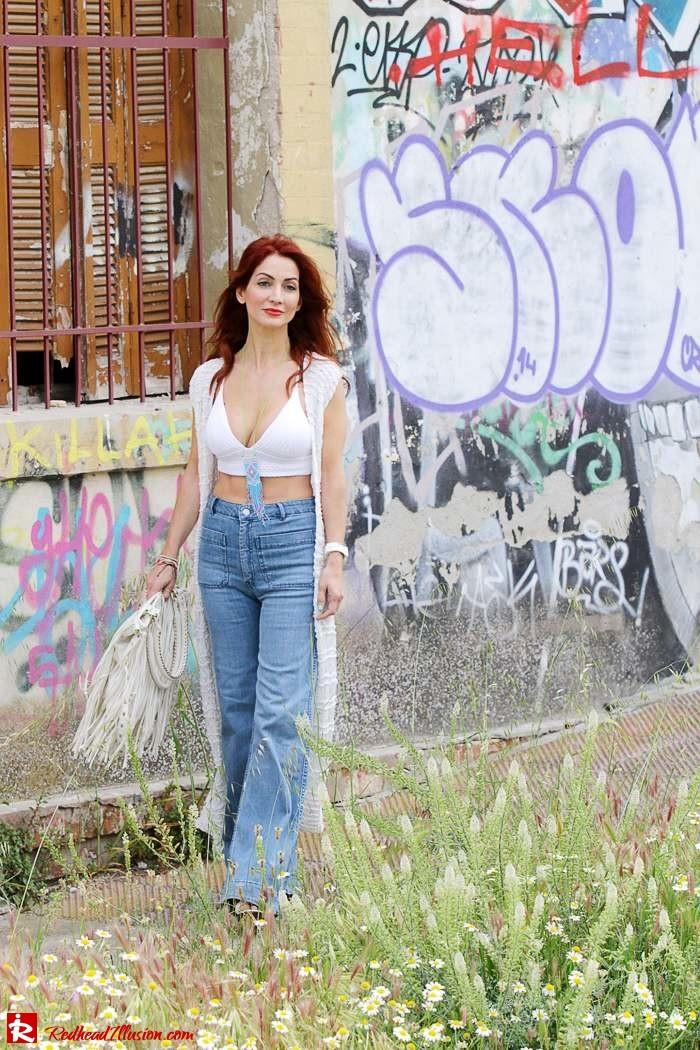 Redhead Illusion - Fashion Blog by Menia - Bohemian Summer Part 2 - Knitted Vest - High waisted Flared Denim - Bikini Top-04