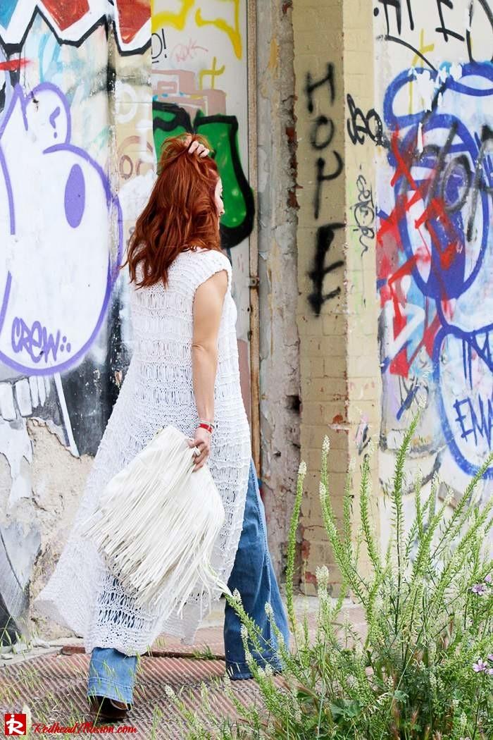 Redhead Illusion - Fashion Blog by Menia - Bohemian Summer Part 2 - Knitted Vest - High waisted Flared Denim - Bikini Top-05