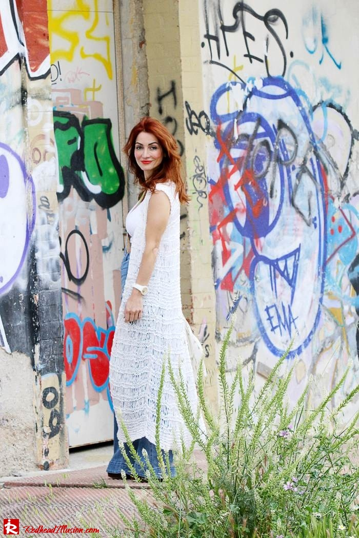 Redhead Illusion - Fashion Blog by Menia - Bohemian Summer Part 2 - Knitted Vest - High waisted Flared Denim - Bikini Top-06
