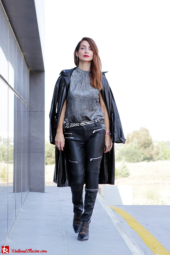 Redhead Illusion - Fashion Blog by Menia - Powerful Leather - Balmain Trench Coat - Zara Pants-09