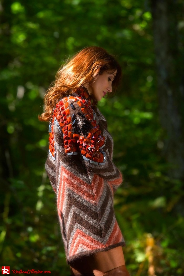 Redhead Illusion - Fashion Blog by Menia - Fall...ing in oversized knitted - H&M Dress - Ovye Boots-10