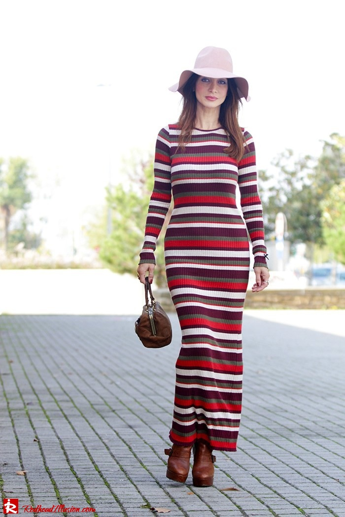 Redhead Illusion - Fashion Blog by Menia - Long 70's Story - Denny Rose Ribbed Striped Dress - Zara Hat-08