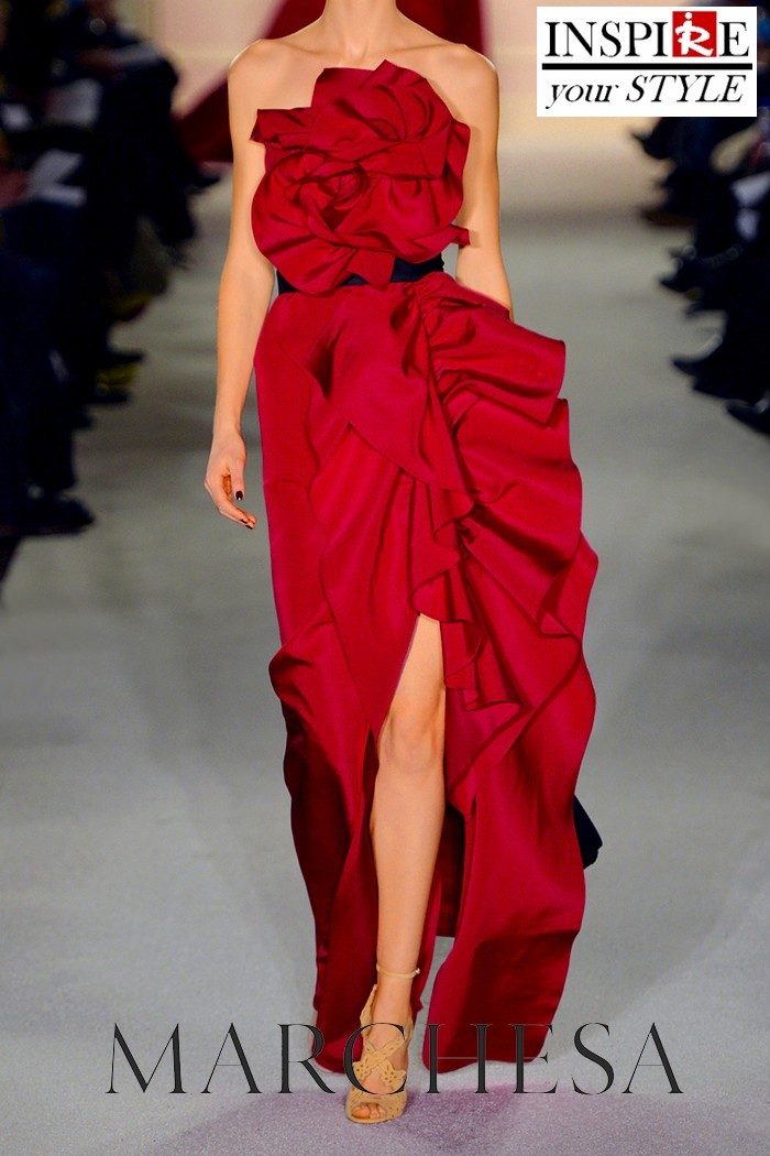 Inspire your style – Asymmetric red ruffled gown!