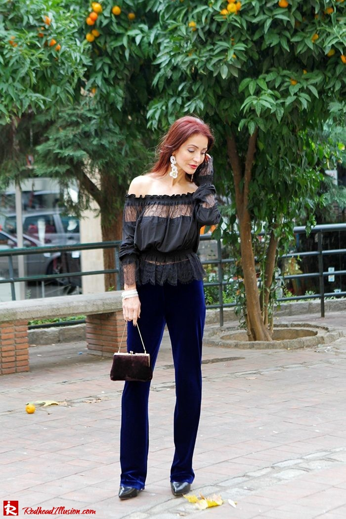 Redhead Illusion - Fashion Blog by Menia - Lace and Velvet - Victoria's Secret Blouse-04