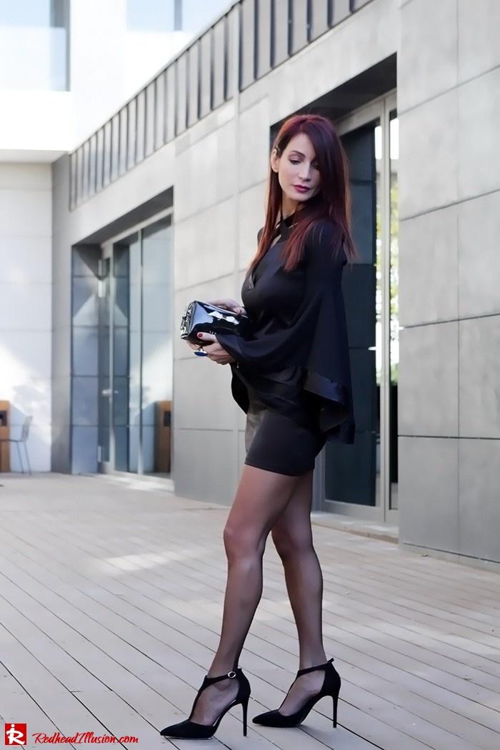 Redhead Illusion - Fashion Blog by Menia - Bell Sleeve Dress - Yoins LBD Mini Black Dress-02