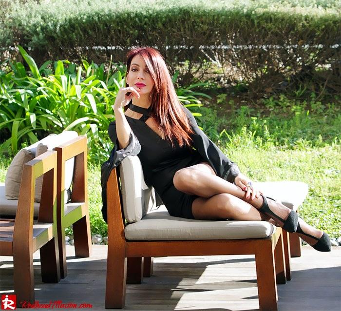 Redhead Illusion - Fashion Blog by Menia - Bell Sleeve Dress - Yoins LBD Mini Black Dress-08