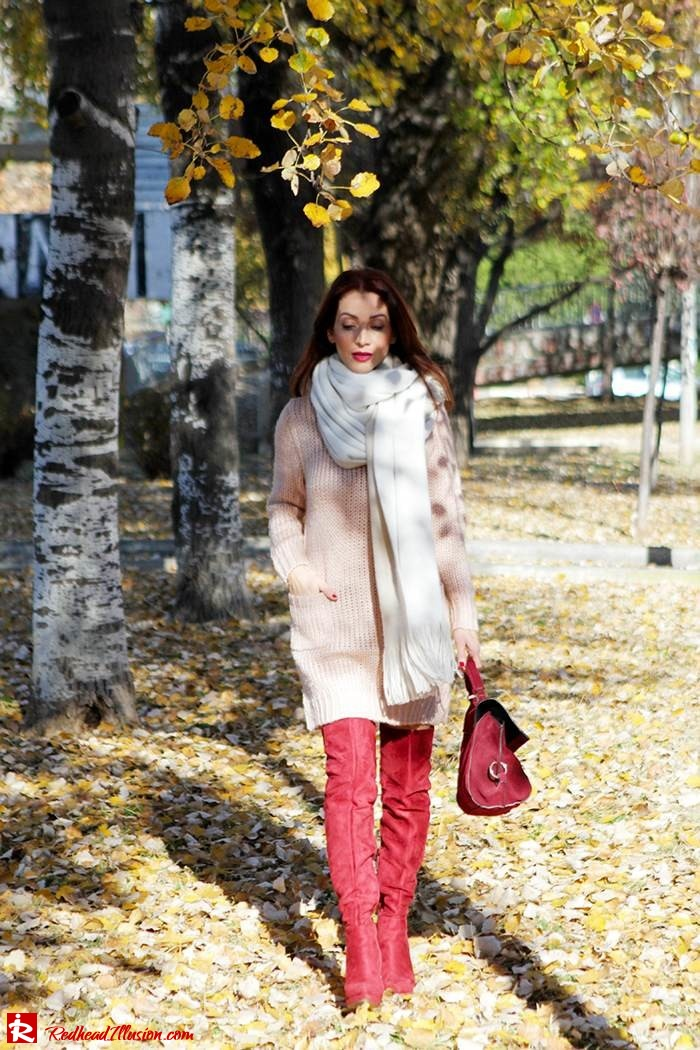 Redhead Illusion - Fashion Blog by Menia - Cozy and Casual - Knitted Dress - High Boots-11