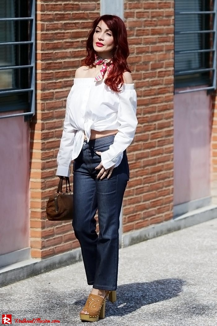 Redhead Illusion - Fashion Blog by Menia - Off-the-shoulder - Sexy and Feminine - Denny Rose Shirt - Kick Flare Jeans-02