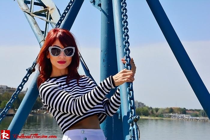 Redhead Illusion - Fashion Blog by Menia - Sail Away - Top Zara - Flatforms - Navy Style-03
