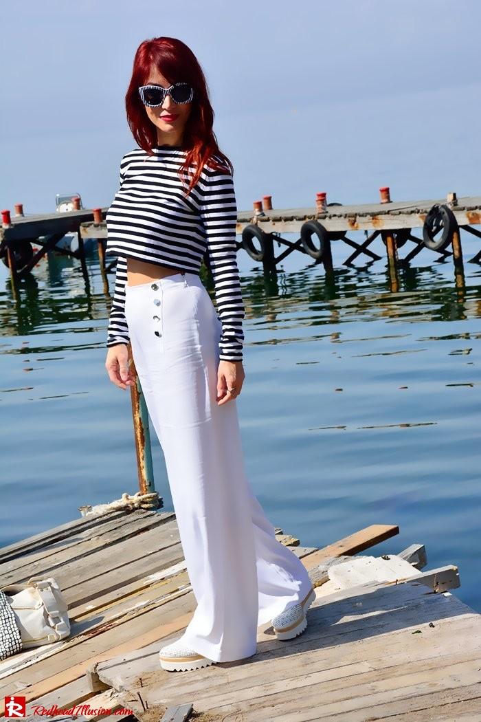 Redhead Illusion - Fashion Blog by Menia - Sail Away - Top Zara - Flatforms - Navy Style-06