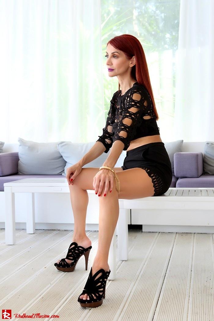 Redhead Illusion - Fashion Blog by Menia - Laser cut - Shorts - Mules - Crop Top-04