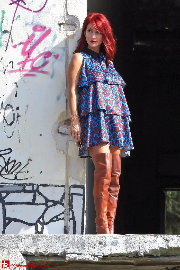 Redhead Illusion - Fashion Blog by Menia - Fall in Ruffles - Denny Rose Dress - Zara Bag - Over the knee Boots-13