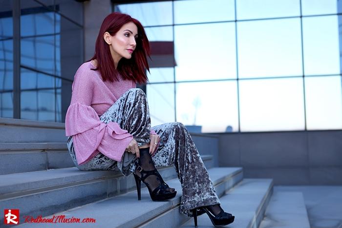 Redhead Illusion - Fashion Blog by Menia - Fade to grey - Zara Velvet Pants - Denny Rose Blouse-06