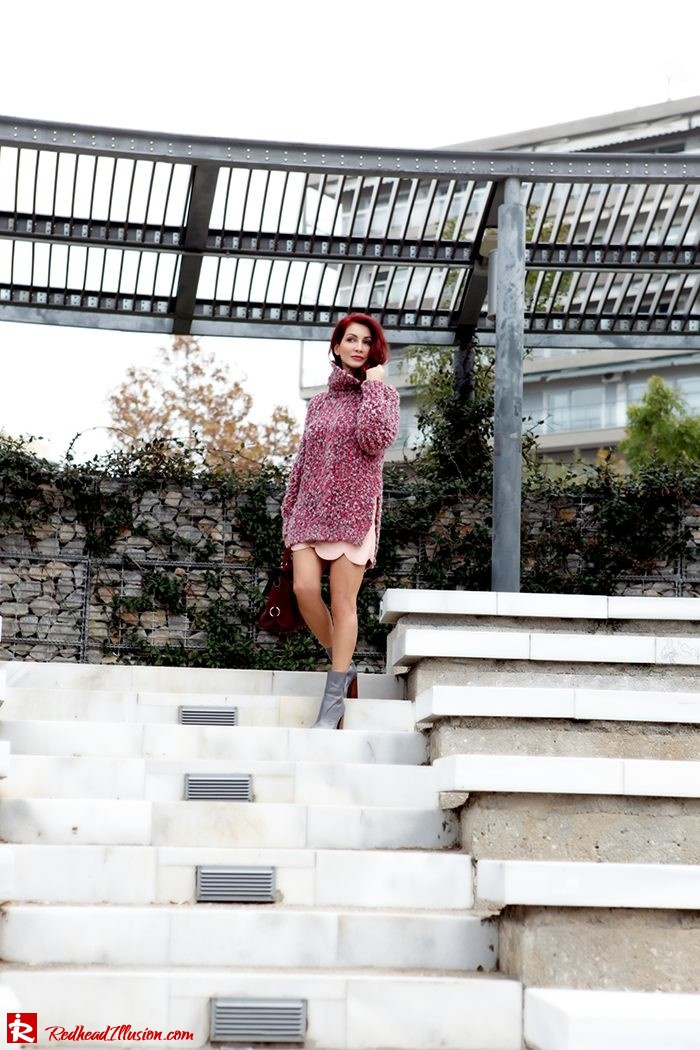 Redhead Illusion - Fashion Blog by Menia - Pink Affair - Knitted Sweater- Shein Skirt - Zara Booties-02