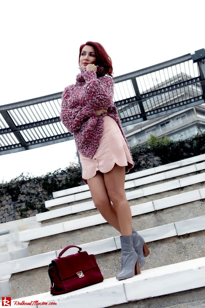Redhead Illusion - Fashion Blog by Menia - Pink Affair - Knitted Sweater- Shein Skirt - Zara Booties-04