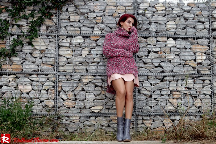 Redhead Illusion - Fashion Blog by Menia - Pink Affair - Knitted Sweater- Shein Skirt - Zara Booties-09