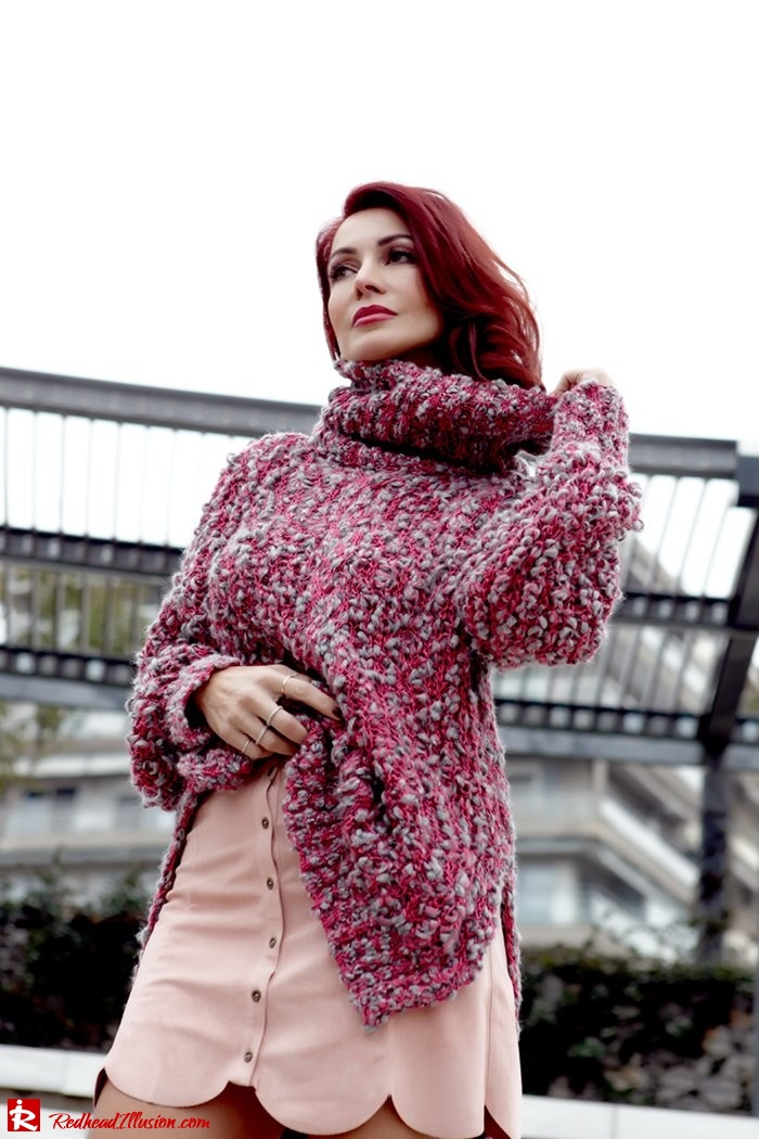 Redhead Illusion - Fashion Blog by Menia - Lately - February - 03-pink-affair-knitted-sweater-shein-skirt-zara-booties