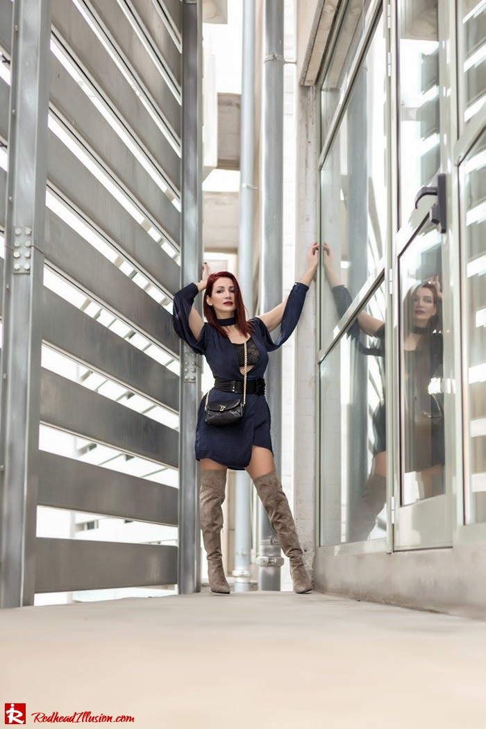 Redhead Illusion - Fashion Blog by Menia - Lately - March 2017 - 05 - Blues and greys - Missguided Dress