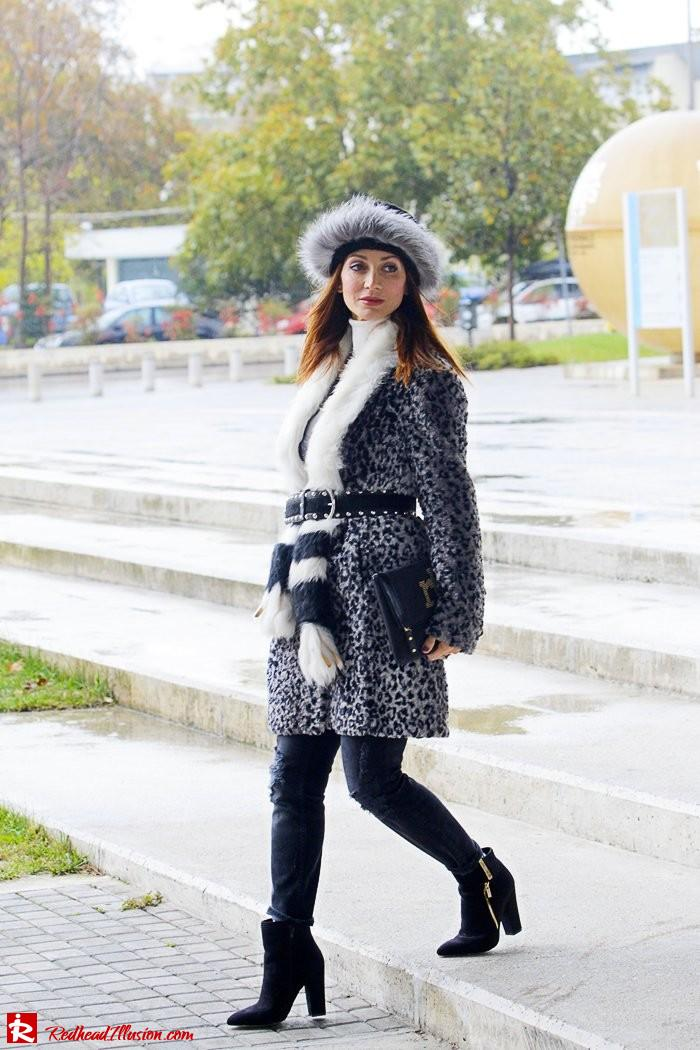 Redhead Illusion - Fur play - Faux Fur Coat with Furry Hat and Karen Millen Belt and Blouse-02