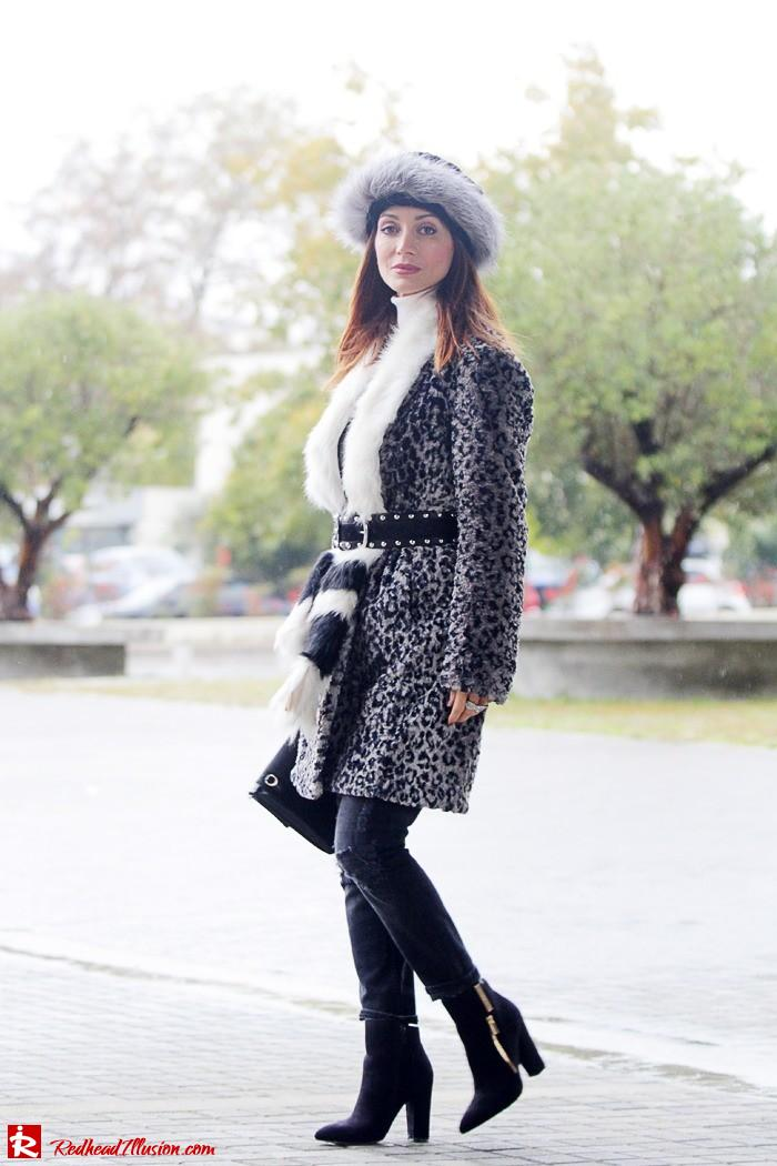 Redhead Illusion - Fur play - Faux Fur Coat with Furry Hat and Karen Millen Belt and Blouse-04