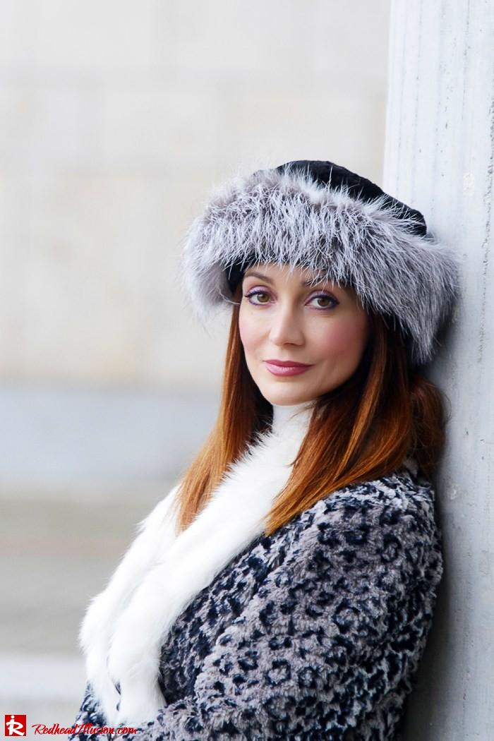 Redhead Illusion - Fur play - Faux Fur Coat with Furry Hat and Karen Millen Belt and Blouse-05