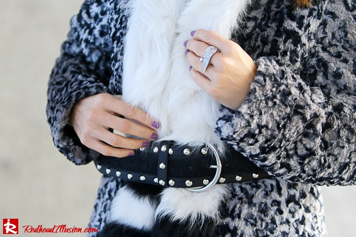 Redhead Illusion - Fur play - Faux Fur Coat with Furry Hat and Karen Millen Belt and Blouse-06