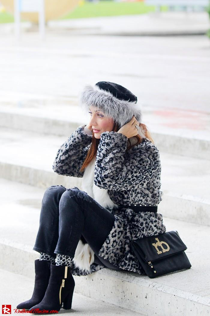 Redhead Illusion - Fur play - Faux Fur Coat with Furry Hat and Karen Millen Belt and Blouse-07