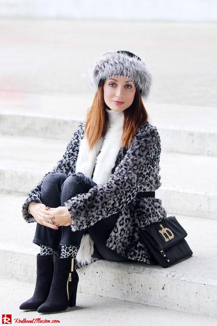 Redhead Illusion - Fur play - Faux Fur Coat with Furry Hat and Karen Millen Belt and Blouse-08