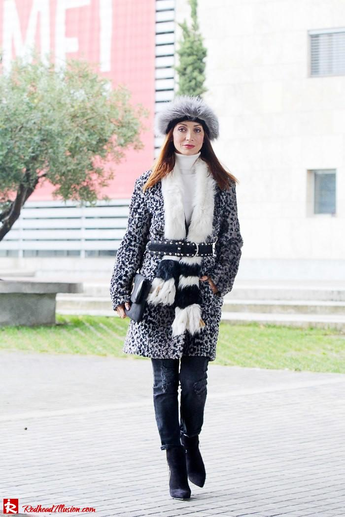 Redhead Illusion - Fur play - Faux Fur Coat with Furry Hat and Karen Millen Belt and Blouse-09