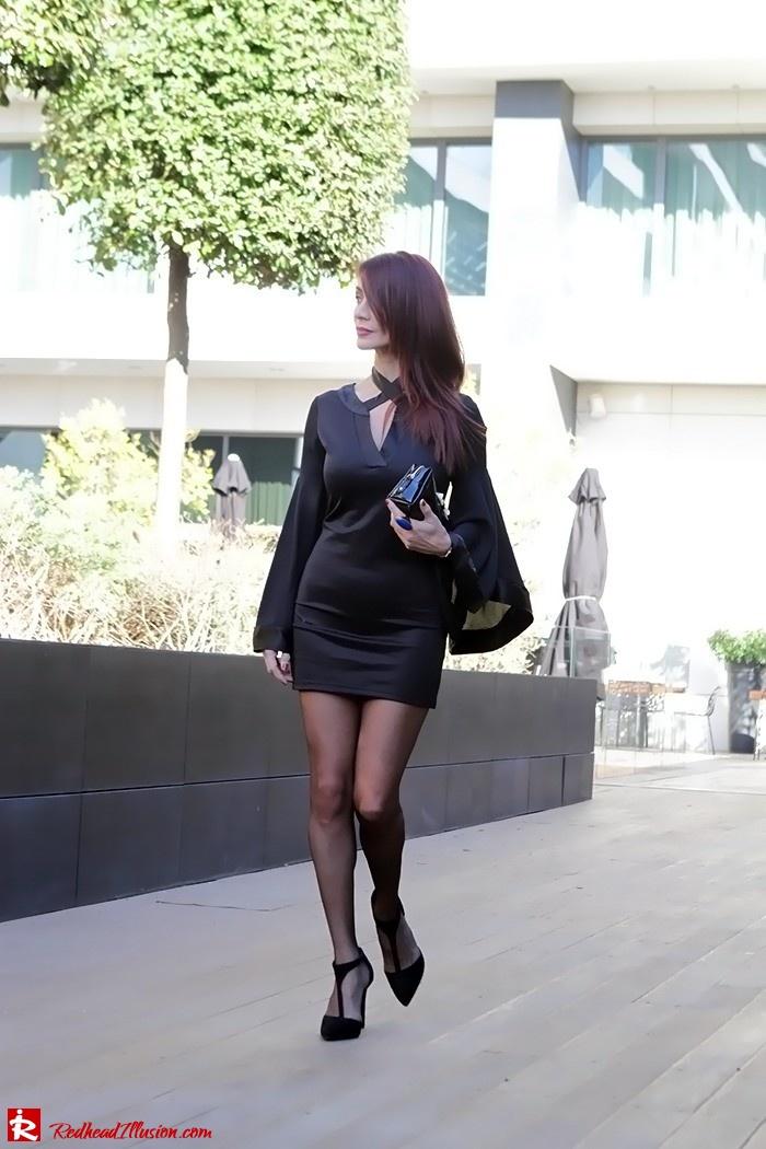 Redhead Illusion - Fashion Blog by Menia - Bell Sleeve Dress - Yoins LBD Mini Black Dress-03