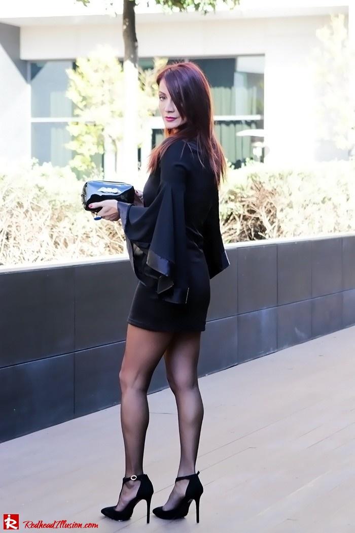 Redhead Illusion - Fashion Blog by Menia - Bell Sleeve Dress - Yoins LBD Mini Black Dress-04