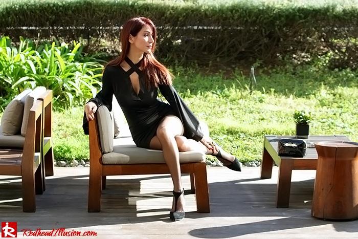 Redhead Illusion - Fashion Blog by Menia - Bell Sleeve Dress - Yoins LBD Mini Black Dress-09