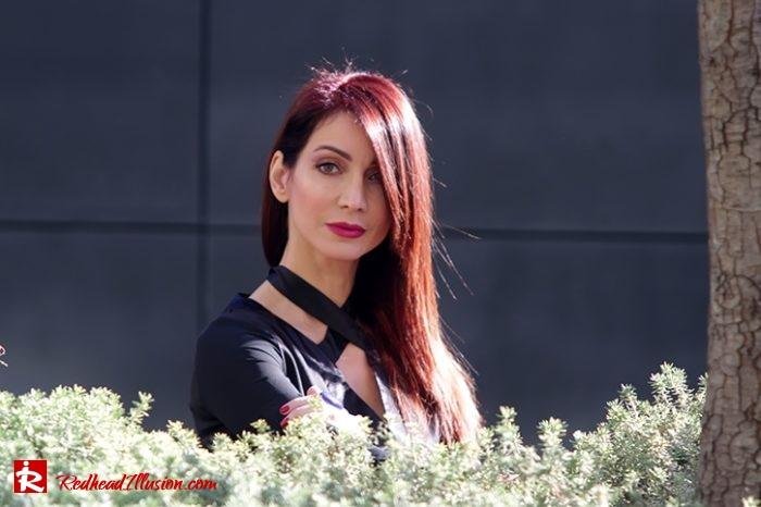 Redhead Illusion - Fashion Blog by Menia - Editorial - Bell Sleeve Dress - Yoins LBD Mini Black Dress-03